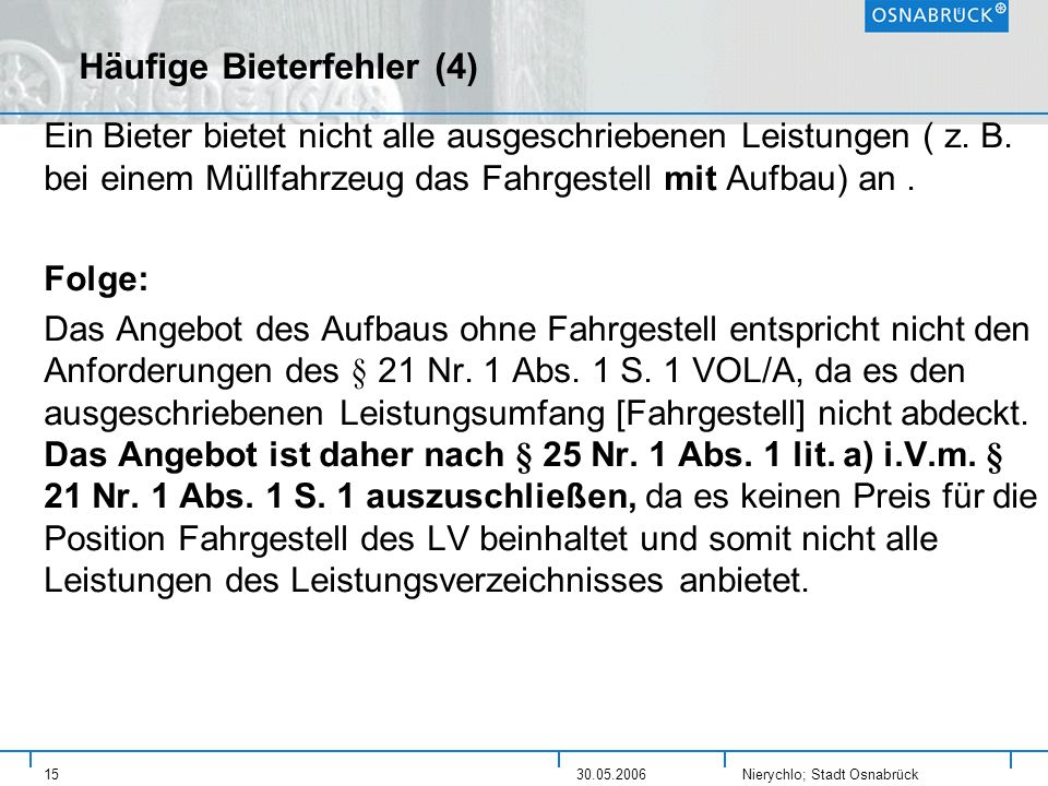 Häufige Bieterfehler (4)