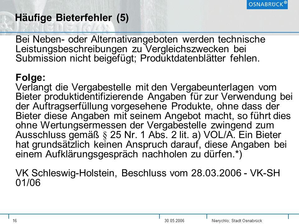 Häufige Bieterfehler (5)