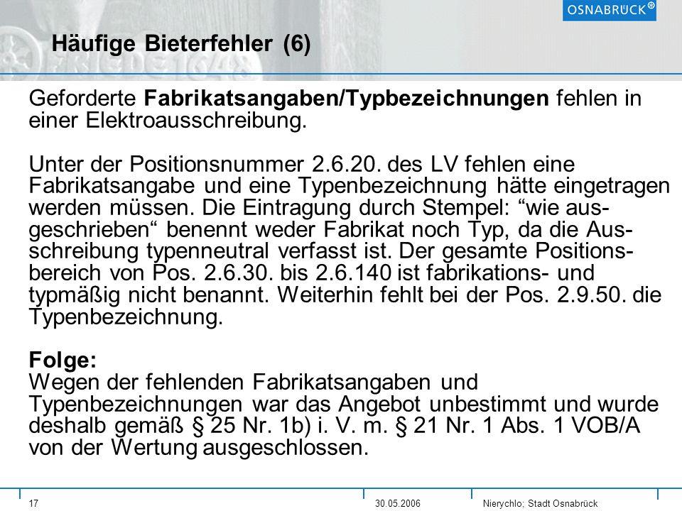 Häufige Bieterfehler (6)