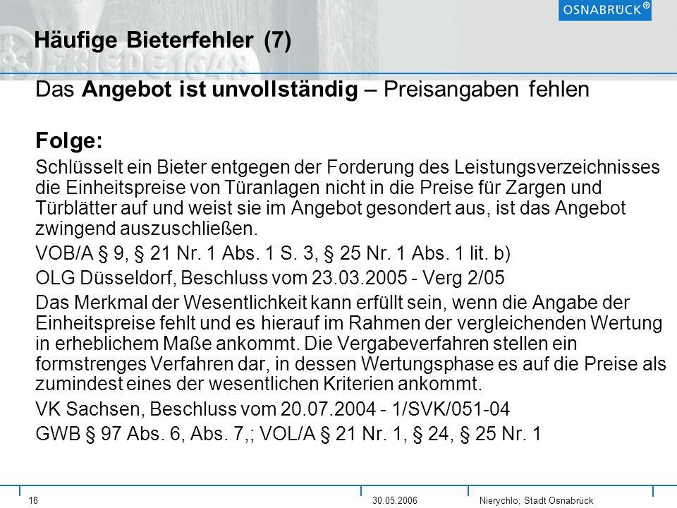 Häufige Bieterfehler (7)
