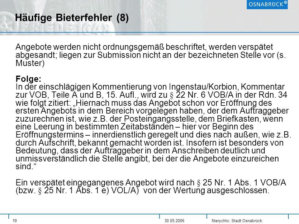 Häufige Bieterfehler (8)