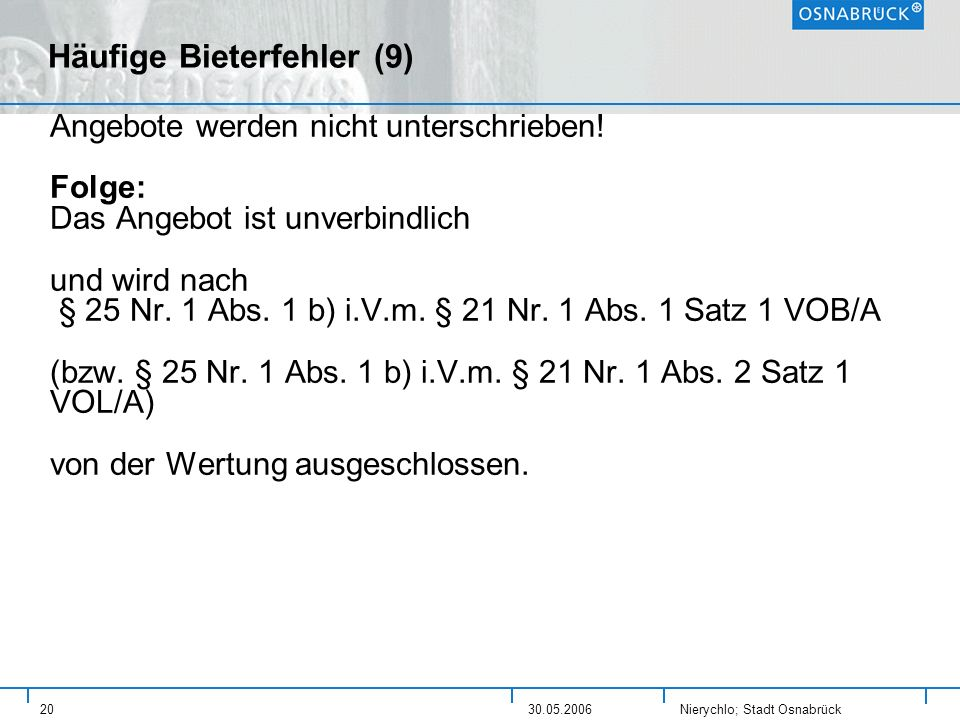 Häufige Bieterfehler (9)