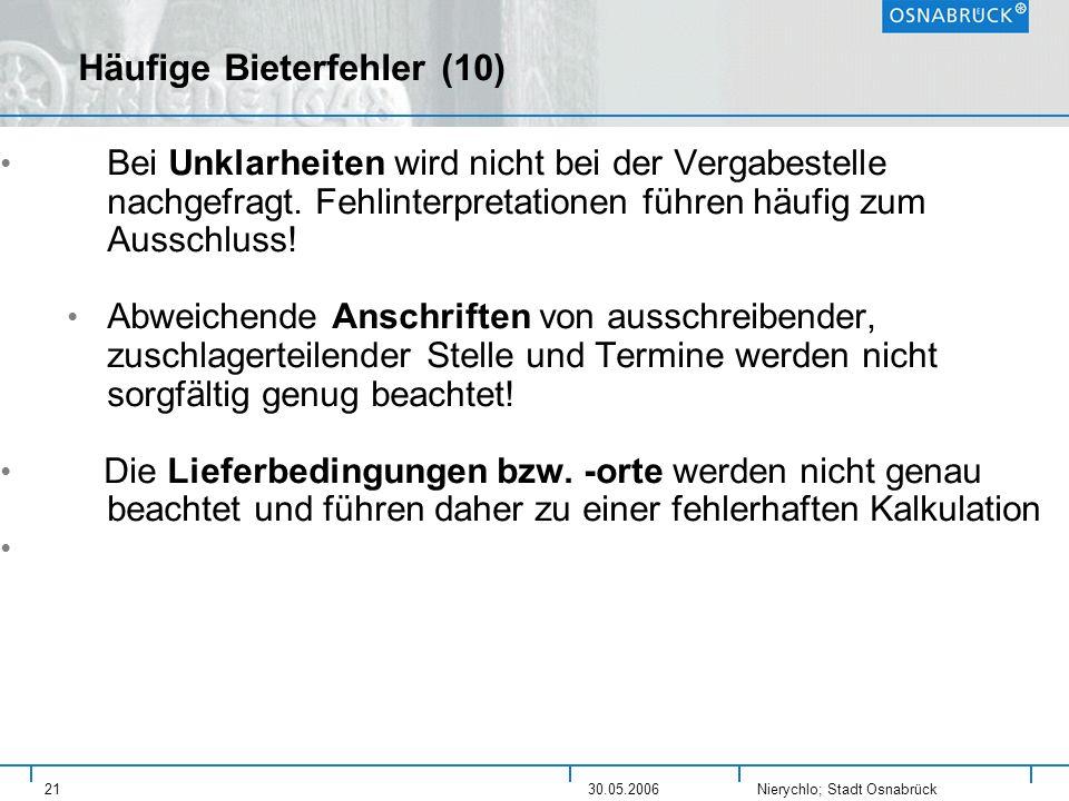 Häufige Bieterfehler (10)