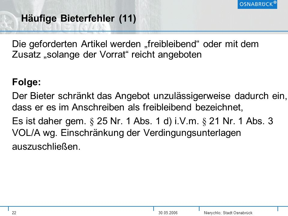 Häufige Bieterfehler (11)