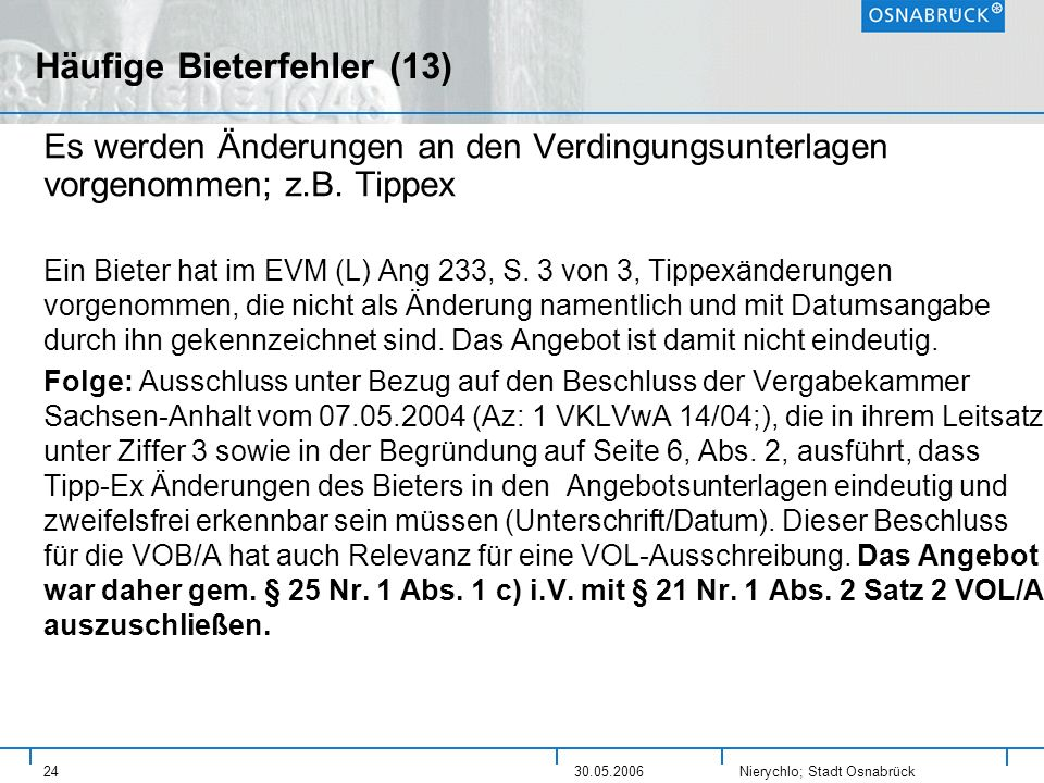 Häufige Bieterfehler (13)