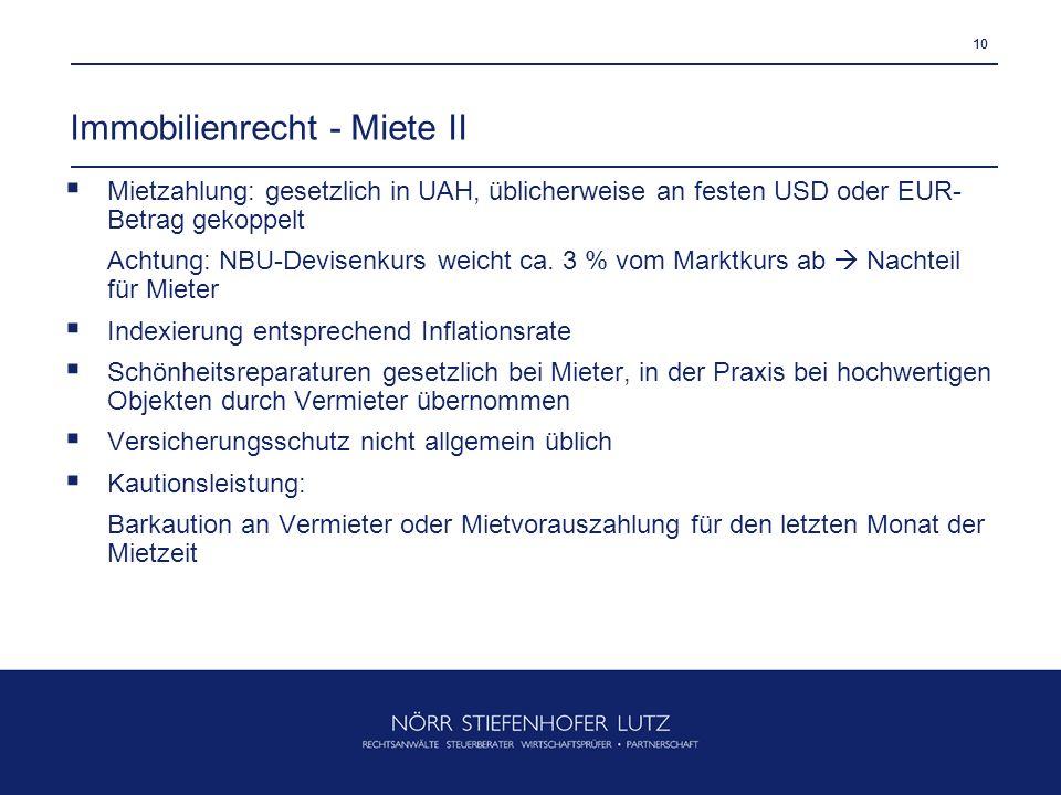 Immobilienrecht - Miete II