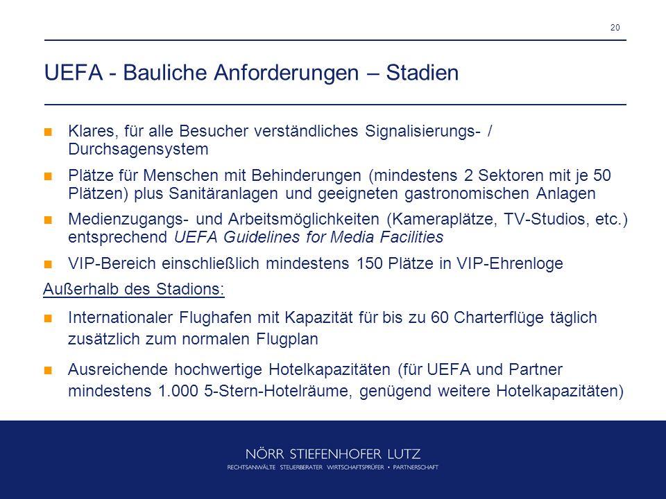 UEFA - Bauliche Anforderungen – Stadien