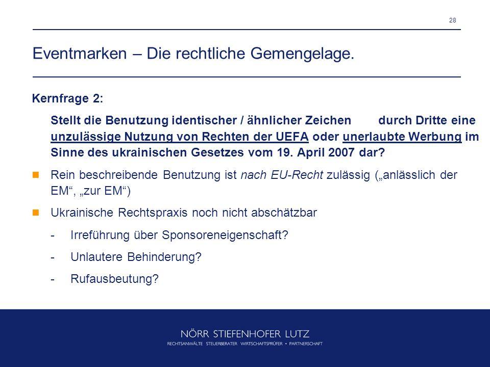 Eventmarken – Die rechtliche Gemengelage.
