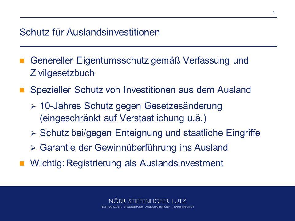 Schutz für Auslandsinvestitionen