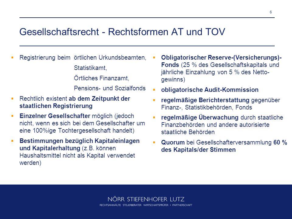 Gesellschaftsrecht - Rechtsformen AT und TOV