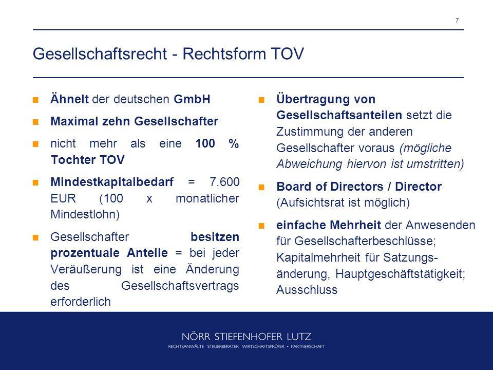 Gesellschaftsrecht - Rechtsform TOV