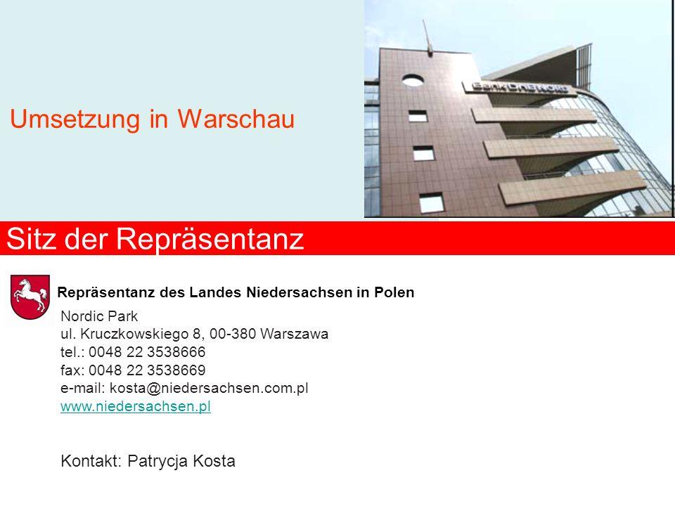 Sitz der Repräsentanz Umsetzung in Warschau Kontakt: Patrycja Kosta