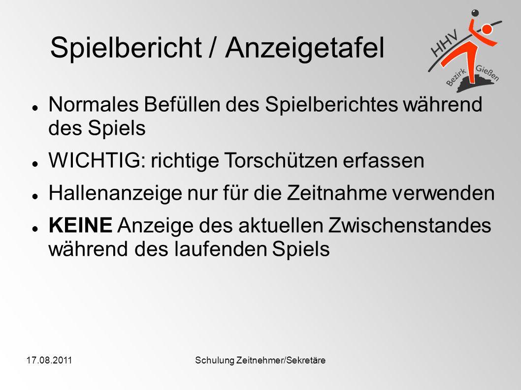 Spielbericht / Anzeigetafel
