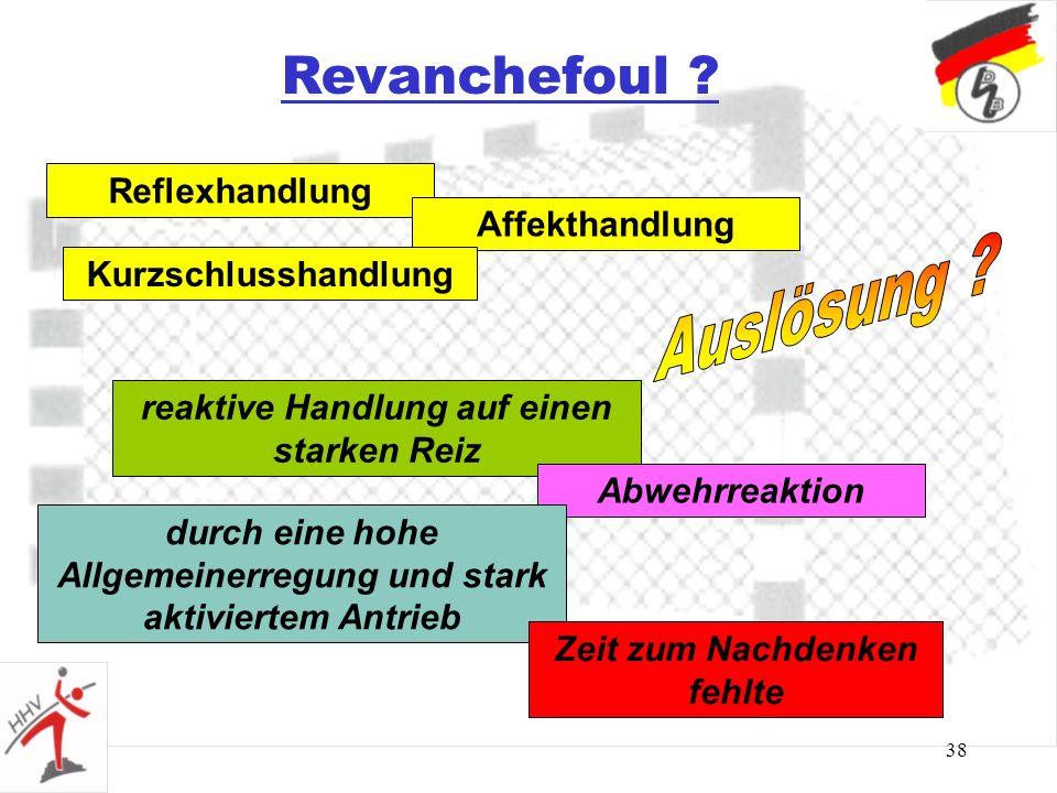 Revanchefoul Auslösung Reflexhandlung Affekthandlung
