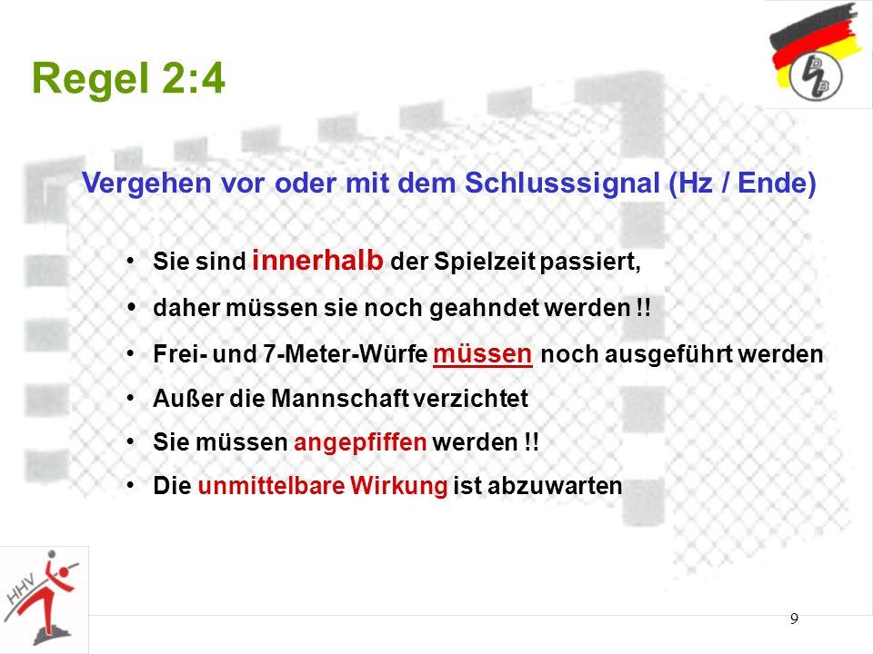 Regel 2:4 Vergehen vor oder mit dem Schlusssignal (Hz / Ende)