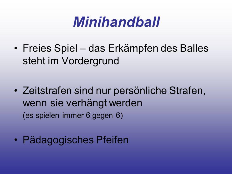 Minihandball Freies Spiel – das Erkämpfen des Balles steht im Vordergrund. Zeitstrafen sind nur persönliche Strafen, wenn sie verhängt werden.