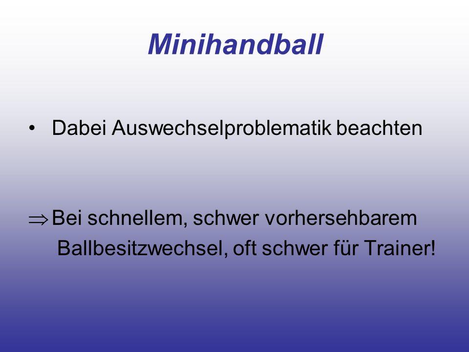 Minihandball Dabei Auswechselproblematik beachten