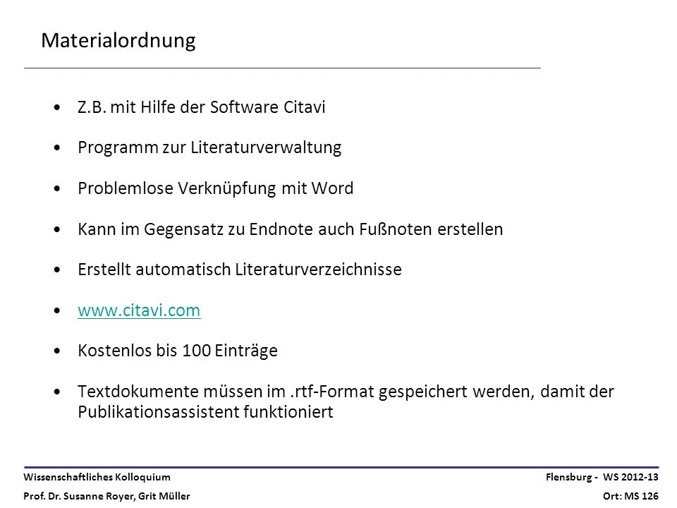 Materialordnung Z.B. mit Hilfe der Software Citavi