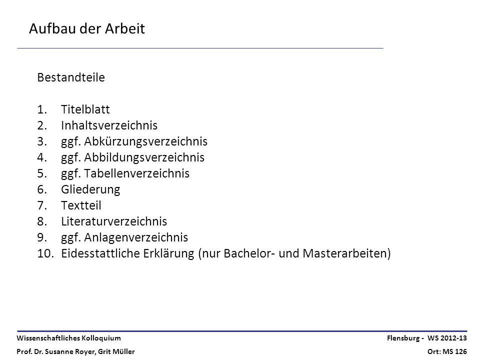 Aufbau der Arbeit Bestandteile Titelblatt Inhaltsverzeichnis