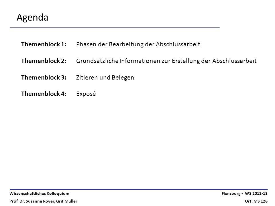 Agenda Themenblock 1: Phasen der Bearbeitung der Abschlussarbeit
