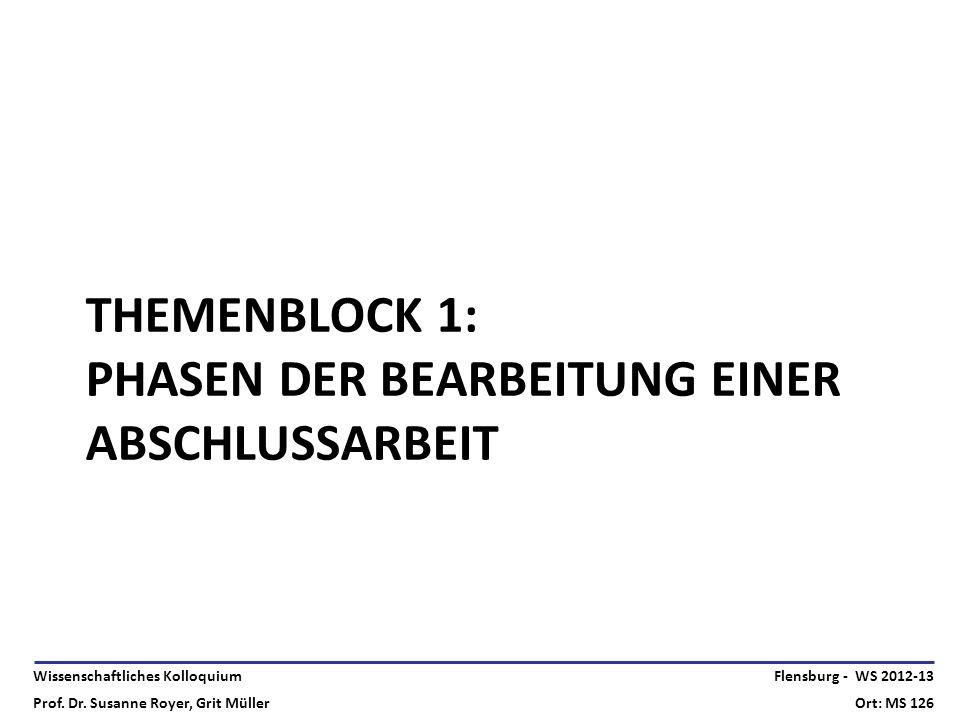 Themenblock 1: Phasen der Bearbeitung einer Abschlussarbeit