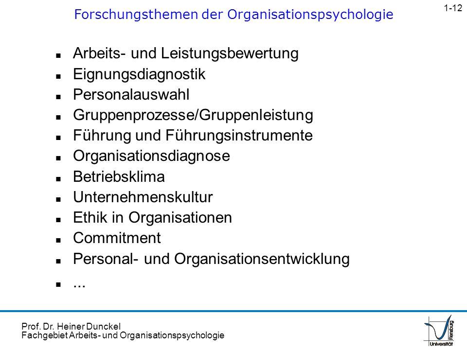 Forschungsthemen der Organisationspsychologie