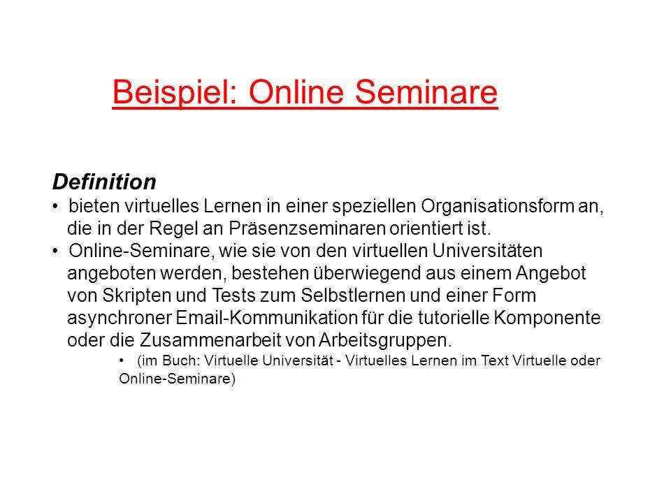 Beispiel: Online Seminare