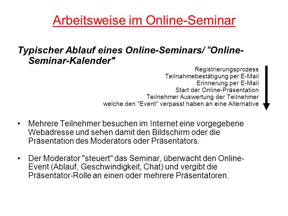 Arbeitsweise im Online-Seminar