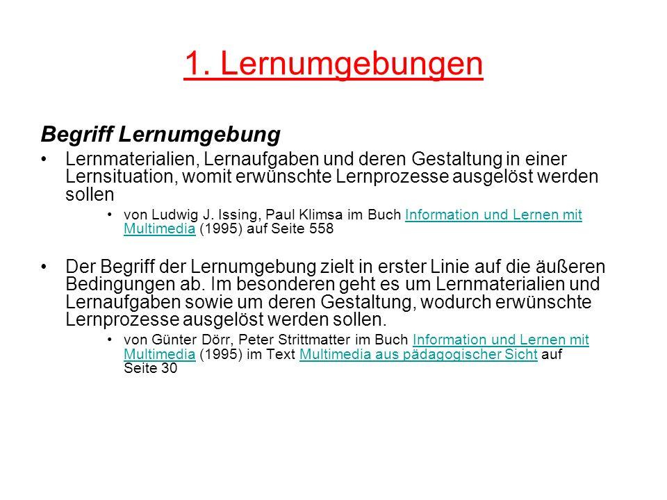 1. Lernumgebungen Begriff Lernumgebung