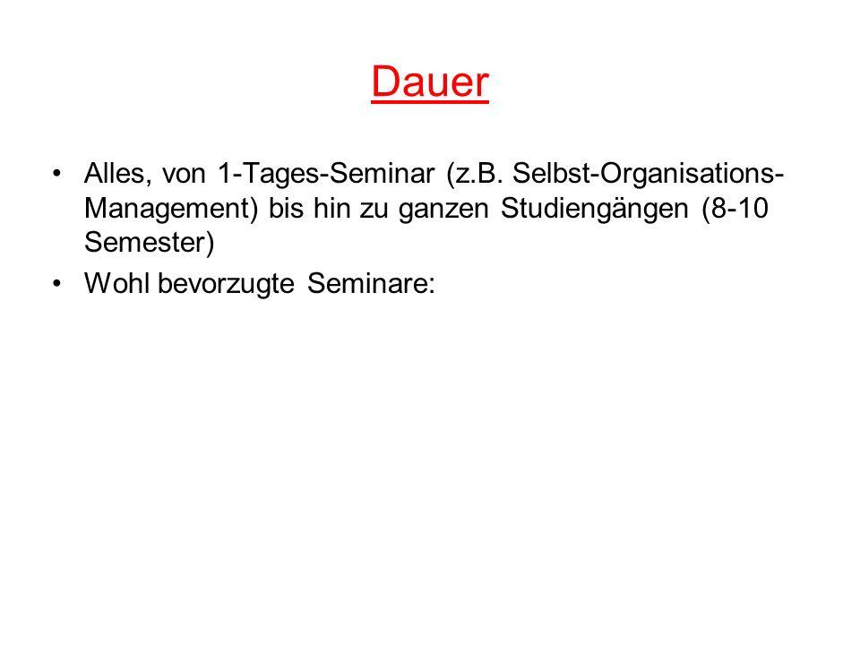 Dauer Alles, von 1-Tages-Seminar (z.B. Selbst-Organisations-Management) bis hin zu ganzen Studiengängen (8-10 Semester)