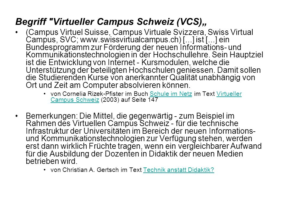 """Begriff Virtueller Campus Schweiz (VCS)"""""""