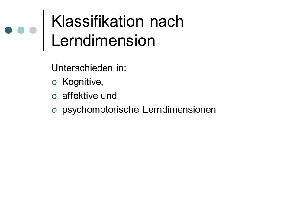 Klassifikation nach Lerndimension