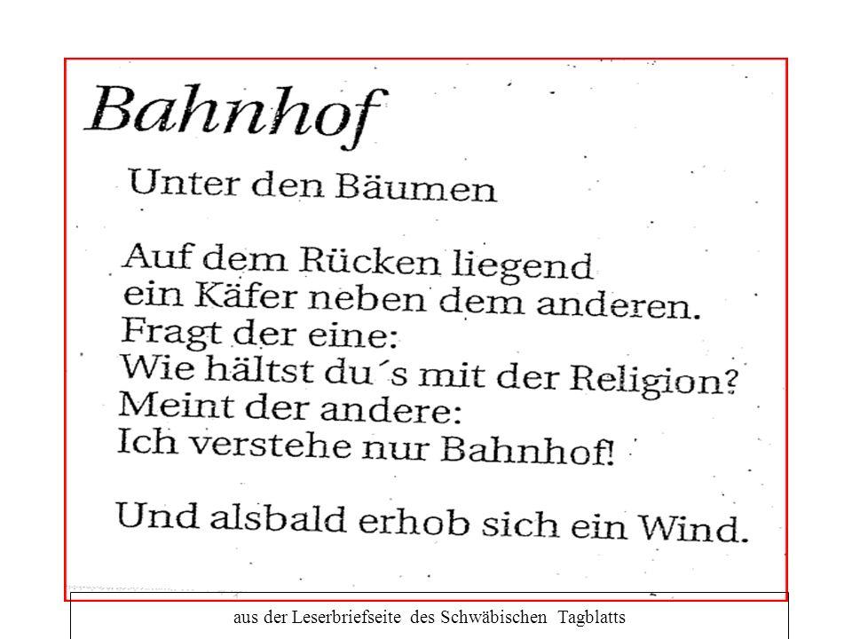 aus der Leserbriefseite des Schwäbischen Tagblatts
