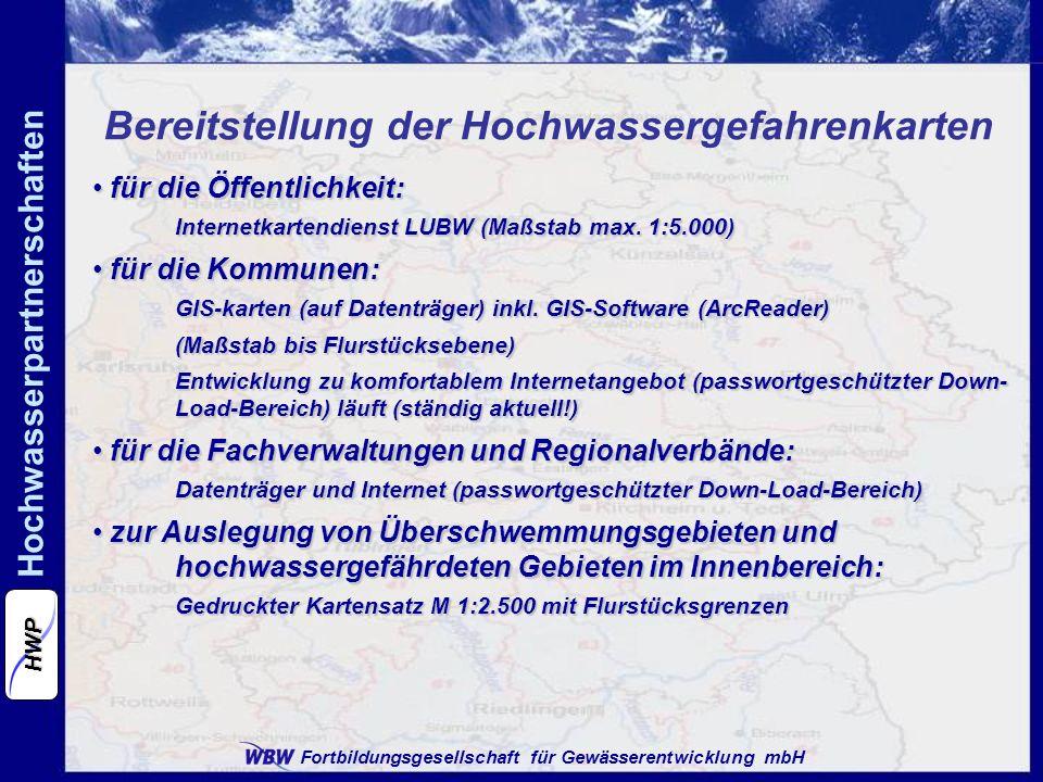 Bereitstellung der Hochwassergefahrenkarten