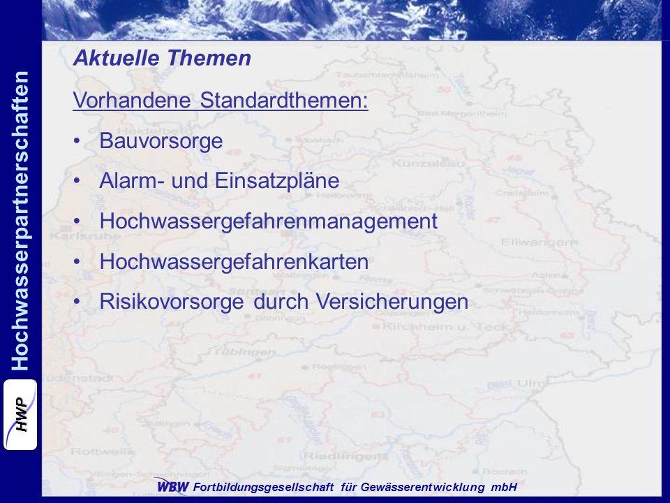 Aktuelle Themen Vorhandene Standardthemen: Bauvorsorge. Alarm- und Einsatzpläne. Hochwassergefahrenmanagement.