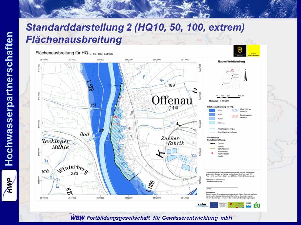 Standarddarstellung 2 (HQ10, 50, 100, extrem) Flächenausbreitung