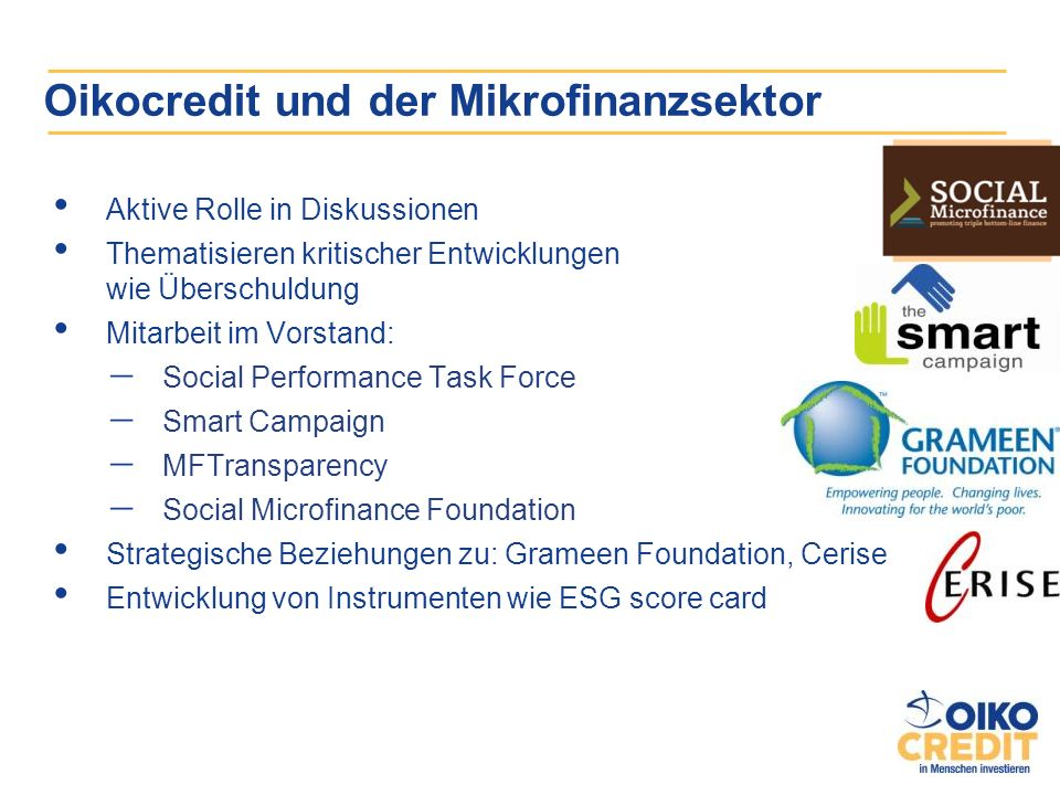 Oikocredit und der Mikrofinanzsektor