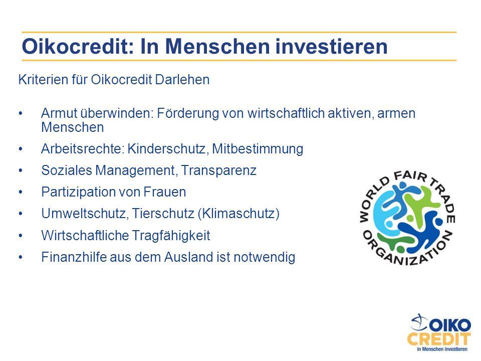 Oikocredit: In Menschen investieren