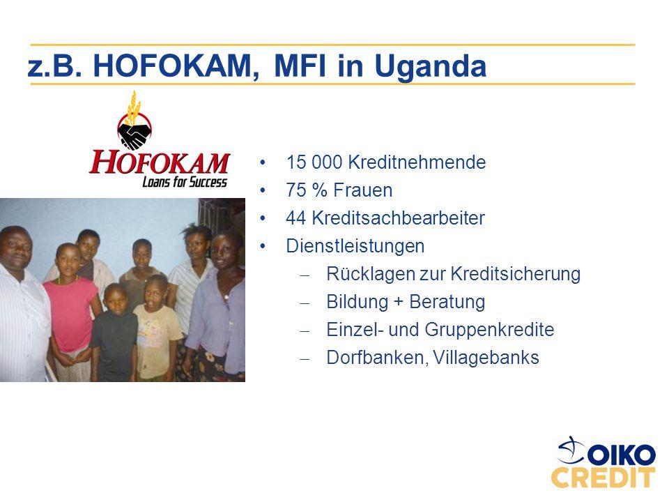 z.B. HOFOKAM, MFI in Uganda