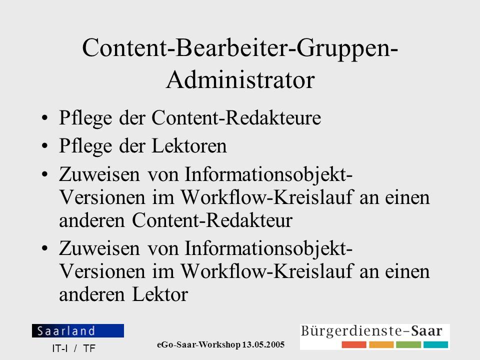 Content-Bearbeiter-Gruppen-Administrator