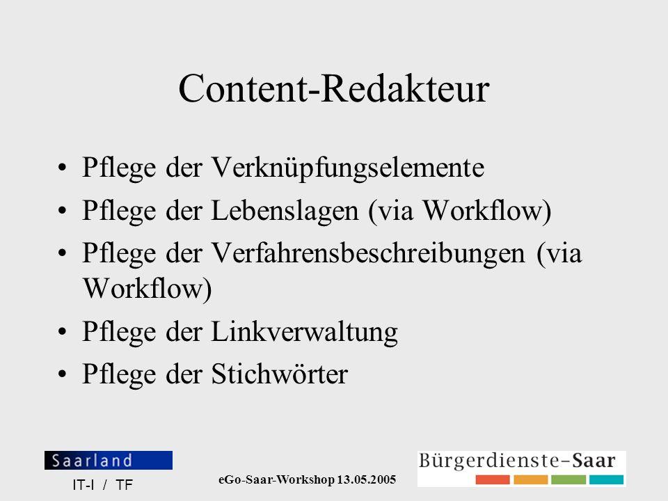 Content-Redakteur Pflege der Verknüpfungselemente