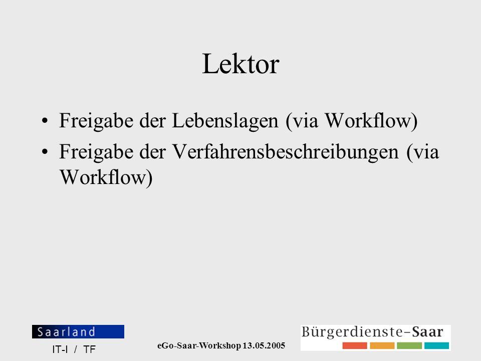 Lektor Freigabe der Lebenslagen (via Workflow)