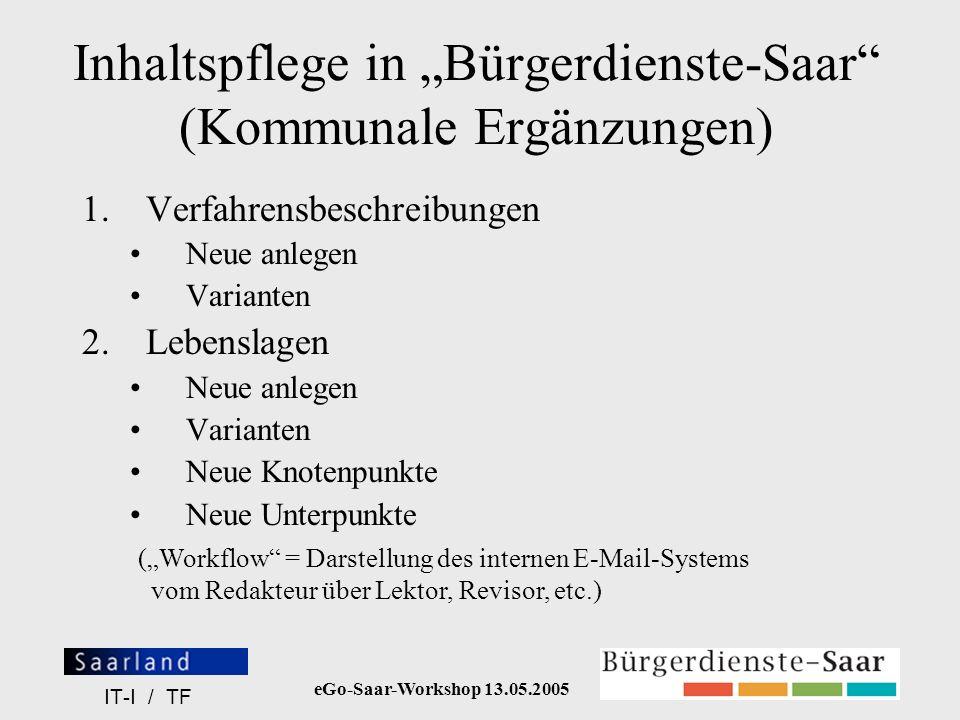 """Inhaltspflege in """"Bürgerdienste-Saar (Kommunale Ergänzungen)"""