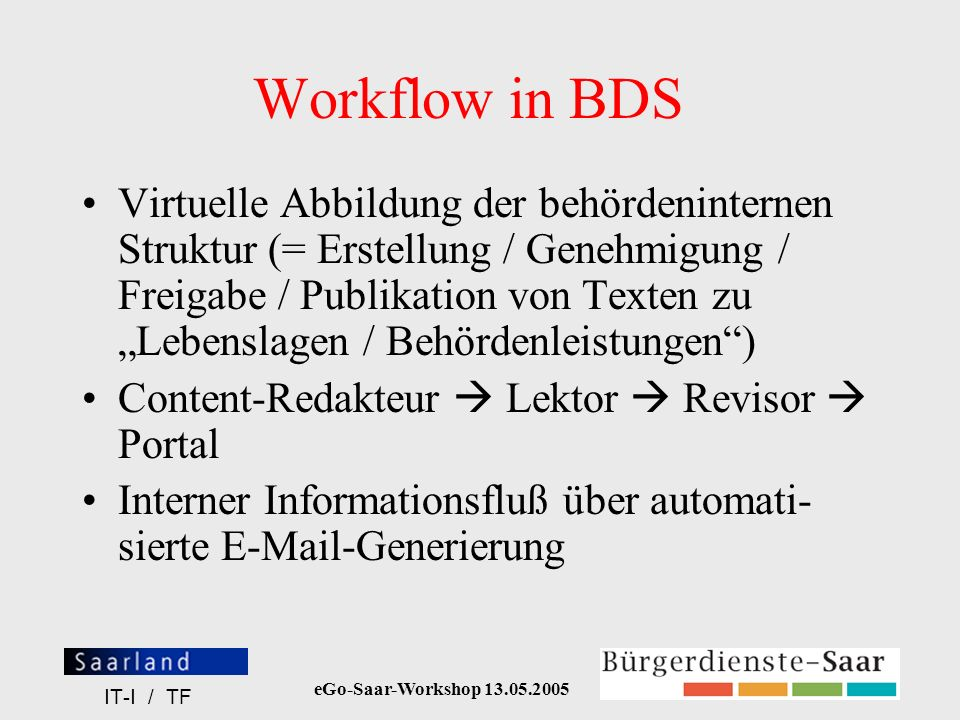 Workflow in BDS