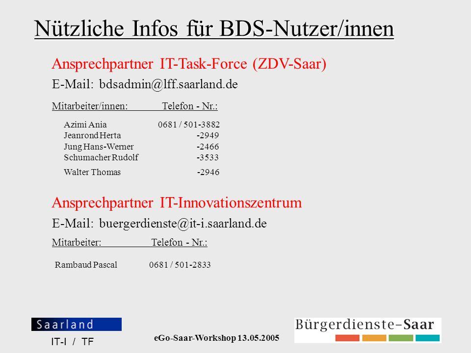 Nützliche Infos für BDS-Nutzer/innen