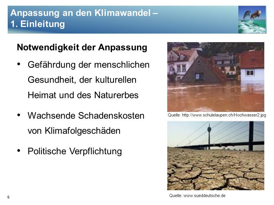Anpassung an den Klimawandel – 1. Einleitung