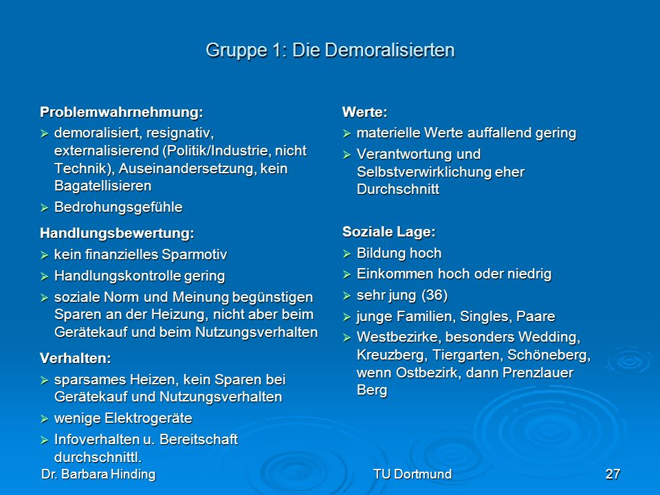 Gruppe 1: Die Demoralisierten