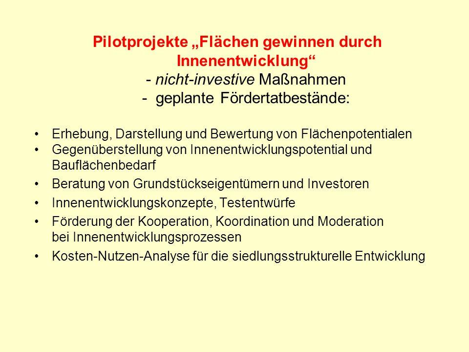 """Pilotprojekte """"Flächen gewinnen durch Innenentwicklung - nicht-investive Maßnahmen - geplante Fördertatbestände:"""