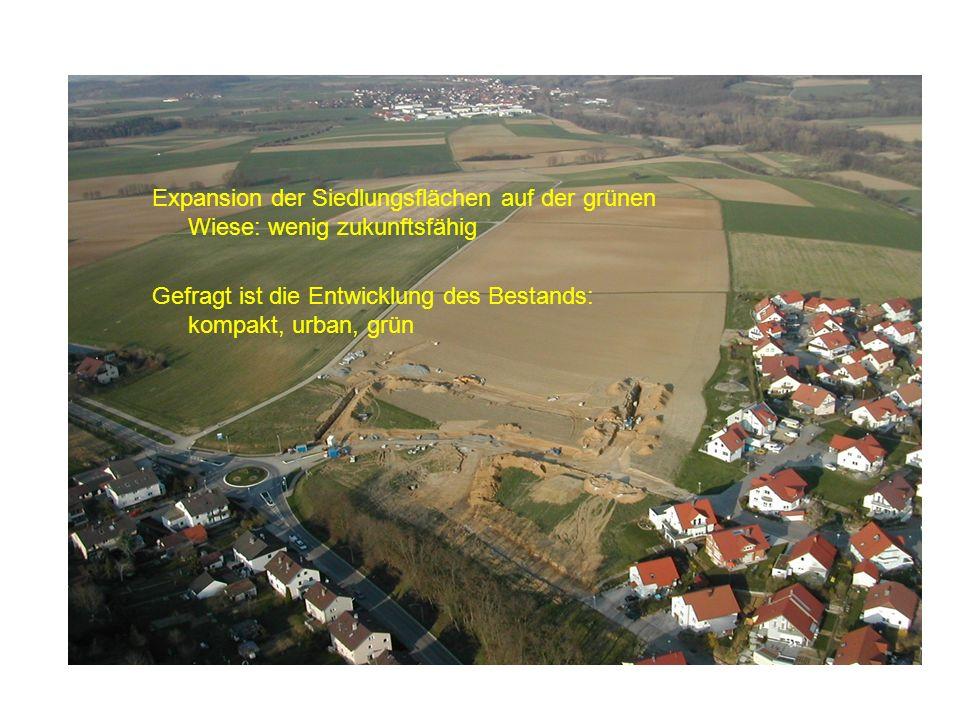 Expansion der Siedlungsflächen auf der grünen Wiese: wenig zukunftsfähig