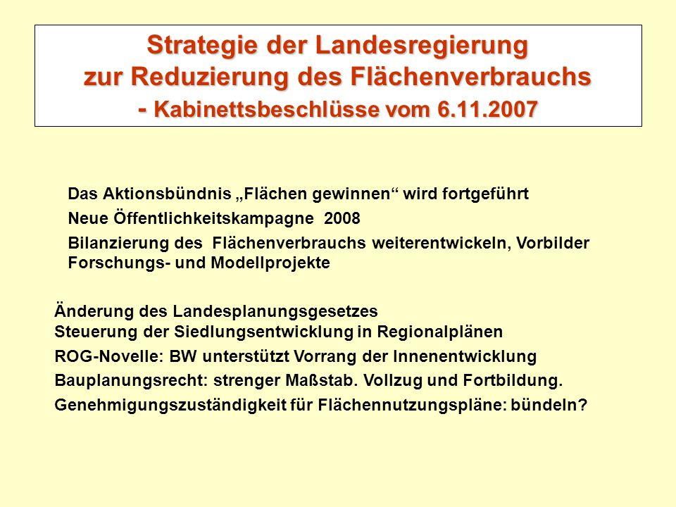 Strategie der Landesregierung zur Reduzierung des Flächenverbrauchs - Kabinettsbeschlüsse vom 6.11.2007